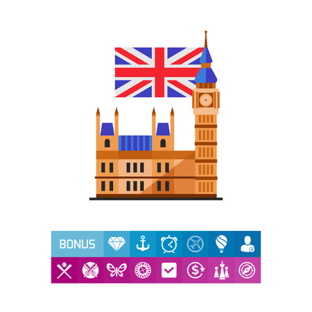 Icon of Big Ben and flag of the United Kingdom. Sightseeing, architecture, traveling. Symbol of London concept. Can be used for topics like tourism, landmark, Great Britain