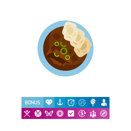 Icon of tasty beef goulash with homemade dumplings. Traditional Czech food, national cuisine, meat dish. Food concept. Can be used for topics like traditional cuisine, lifestyle, restaurant