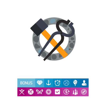 Blacksmith tools of tongs and hammer icon Illustration