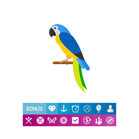 Vector icon of blue-and-yellow macaw sitting on perch. Parrot, bird, tropical bird. Brazil concept. Can be used for topics like tourism, Brazil fauna, zoo Illustration