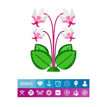 Icon of blooming cyclamen. Plant, flora, spring. National flower concept. Can be used for topics like beauty, nature, blossom Illustration