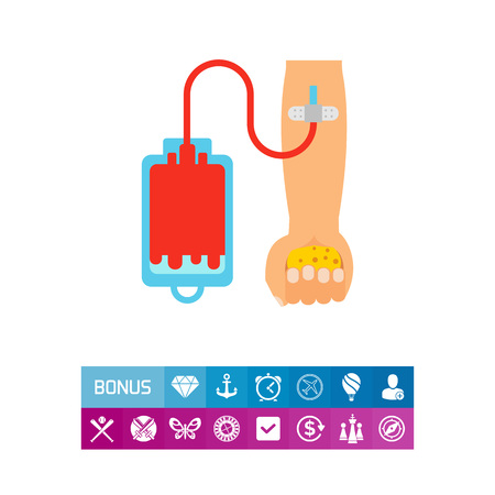 Icon of blood donation. Hematology, healthcare help. Altruism concept. Can be used for topics like medicine, campaign, survival Illustration