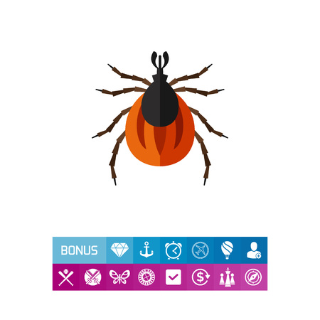 Multicolored vector icon of brown mite, top view Illustration