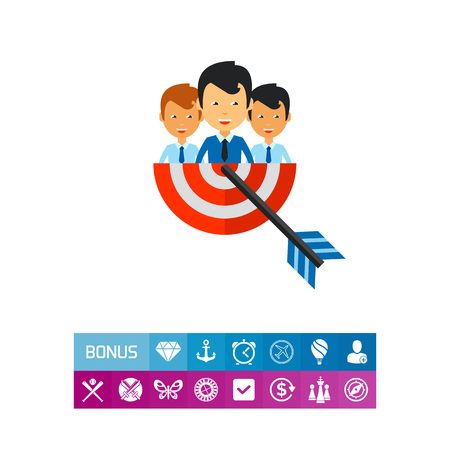 Businesspeople holding target half with arrow. Goal, collaboration, strategy. Team target concept. Can be used for topics like business, teamwork, planning, management.