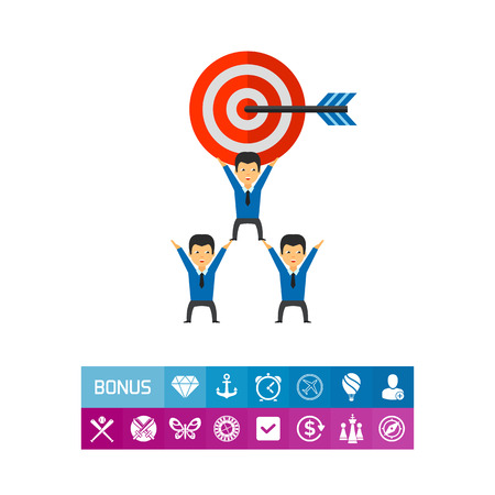 Business Team Holding Big Target Icon Illustration