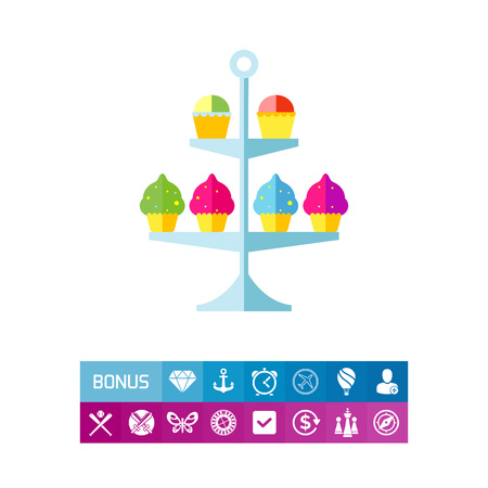 Cake stand with cupcakes vector icon