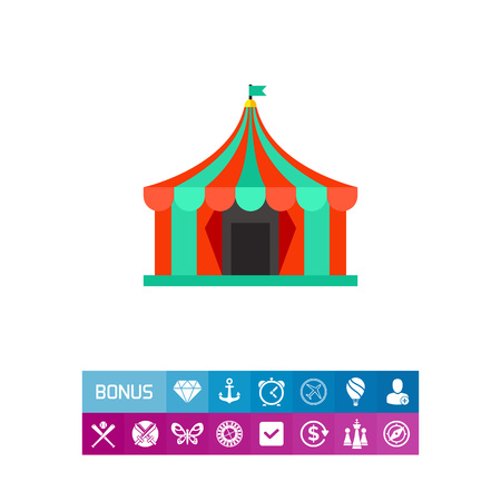 Colorful circus tent icon