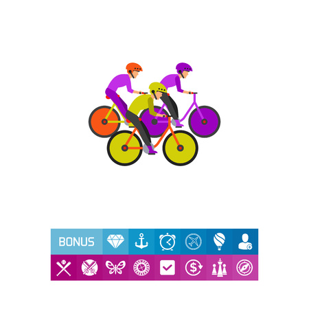 Competitors riding bicycles vector icon