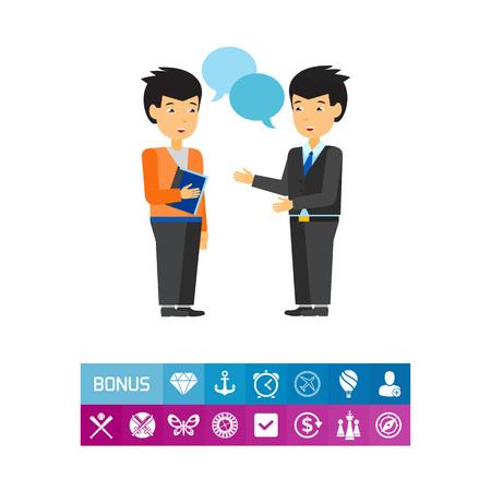 사업가 간의 커뮤니케이션 아이콘 일러스트