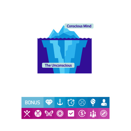 Conscious and unconscious mind icon Illustration