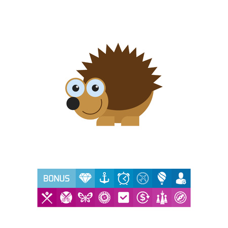 spiked: Cute smiling hedgehog icon
