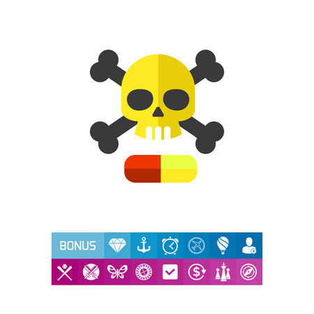 Death emblem with narcotic drug pill icon
