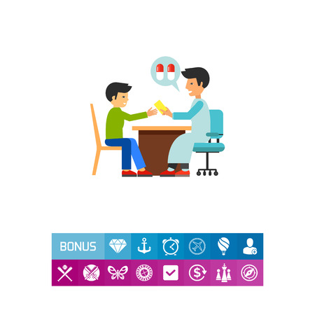 Doctor and patient sitting and talking. Pills, prescription, clinic. Visiting doctor concept. Can be used for topics like medicine, health, healthcare.