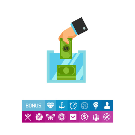 Icon of hand putting money in donation box. Money, help, contribution. Charity concept. Can be used for topics like volunteering, saving, banking