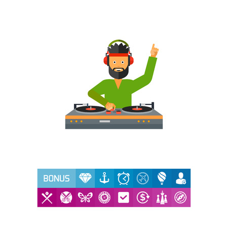 dancing club: DJ man wearing headphones and using DJ mixer. Sound, dancing, nightclub. DJ concept. Can be used for topics like music, entertainment, technology. Illustration