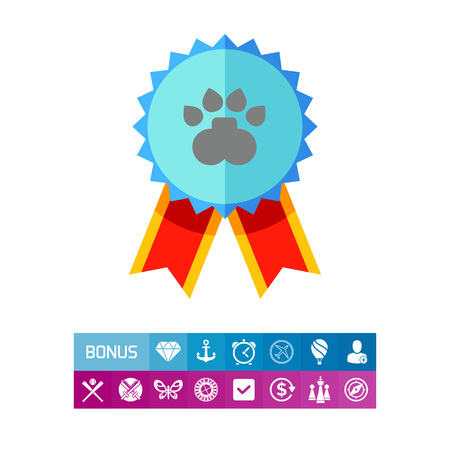 Illustration of dog competition award. Winner, badge with ribbons, paw print, success. Award concept. Can be used for topics like awards, success, competition Illustration