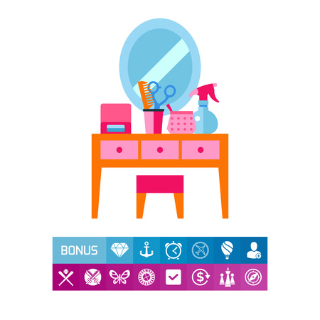 Icon of dressing table. Vanity, hairdresser, furniture. Beauty concept. Can be used for topics like beauty salon, make-up, visage