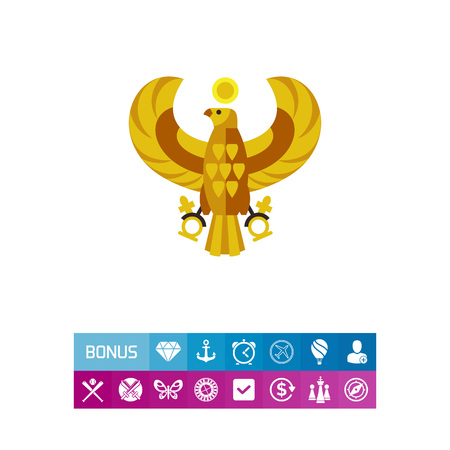 Vector icon of golden Egyptian horus falcon. Egyptian deity, Ancient mythology, Egyptian symbol. Civilization concept. Can be used for topics like ancient history, ancient myth, Egypt history
