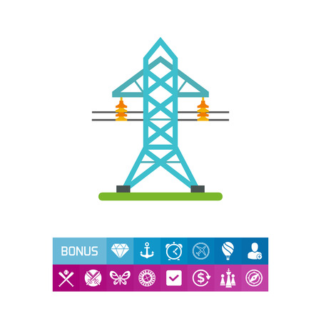 Icon of electricity transmission tower. Energy, power station, current. Electricity concept. Can be used for topics like industry, infrastructure, resource Illustration