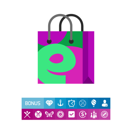 Illustration of shopping bag with E letter. Shopping online, technology, e-shop. E-commerce concept. Can be used for topics like Internet, e-commerce, online shopping