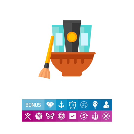 group therapy: Face mask bowl with tubes icon Illustration