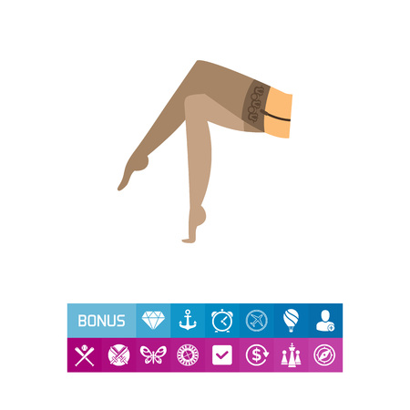 Female legs in nylon stockings icon Illustration