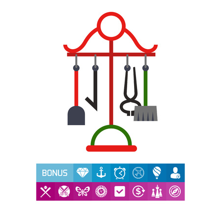 Icon of fireplace accessories. Tool, set, vintage style. Chimney concept. Can be used for topics like interior, cleaning, decor