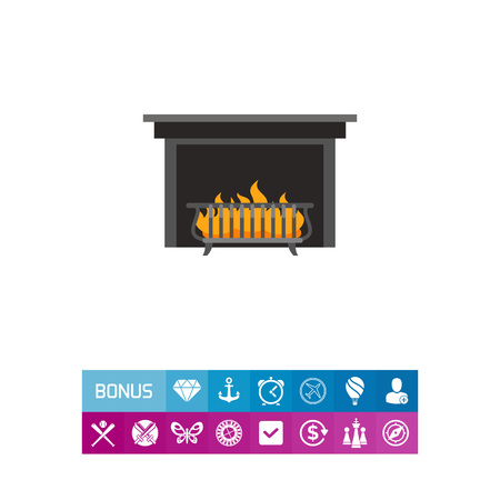 lounging: Icon of metal fireplace. Chimney, decoration, relaxation. Coziness concept. Can be used for topics like interior, luxury, lounging