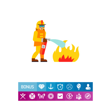 Firefighter extinguishing fire. Rescue, danger, emergency. Firefighter concept. Can be used for topics like firefighting, marketing, rescue service.