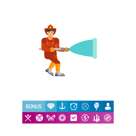 Icon of firefighter with hose. Emergency, danger, water. Fire fighting concept. Can be used for topics like rescue operation, job, profession