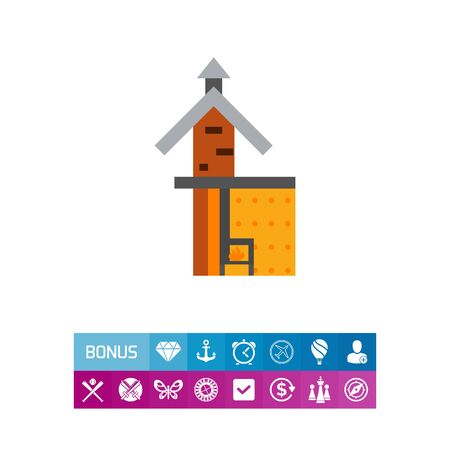 stove pipe: Icon of fireplace scheme. Chimney, system, construction. Architecture concept. Can be used for topics like flue, design, heating