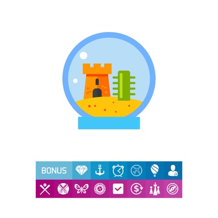 Icon of fishbowl with castle for aquarium pet concept. Illustration