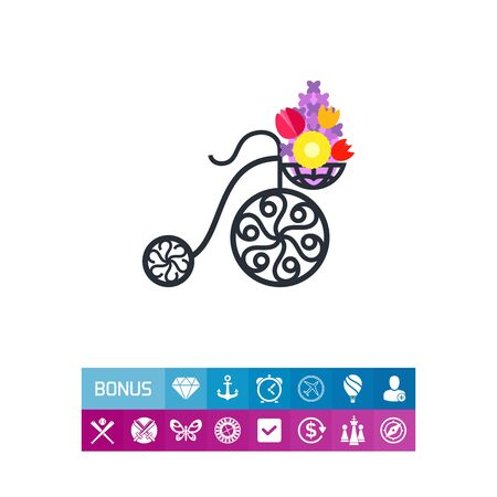 Vector icon of forged street basket of flowers Illustration