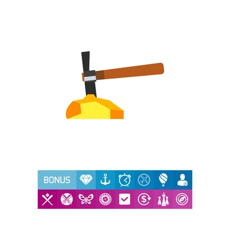 Icon of gold mining. Nugget, pickaxe, hand tool. Gold concept. Can be used for topics like wealth, metal or natural resources