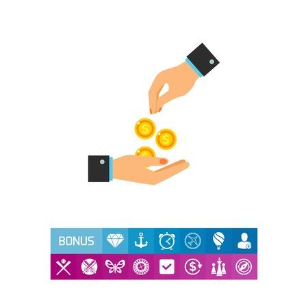 Icoon van de hand geld geven. Geld, hulp, bijdrage. Liefdadigheidsconcept. Kan worden gebruikt voor onderwerpen zoals vrijwilligerswerk, betaling, donatie
