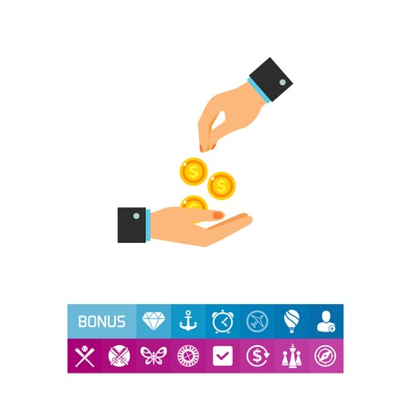 Icon of hand giving money. Money, help, contribution. Charity concept. Can be used for topics like volunteering, payment, donation