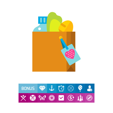 Icon of food donate box. Volunteer, charity, help. Altruism concept. Can be used for topics like welfare, grocery, refugee