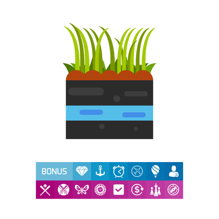 Icon of growing grass. Lawn, cultivation, wheatgrass. Seeding concept. Can be used for topics like herb, gardening, agriculture Illustration