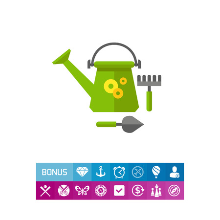 Vector icon of green watering can, shovel and rake. Garden tools, farming, leisure. Spring concept. Can be used for topics like hobby, agriculture, horticulture Illustration