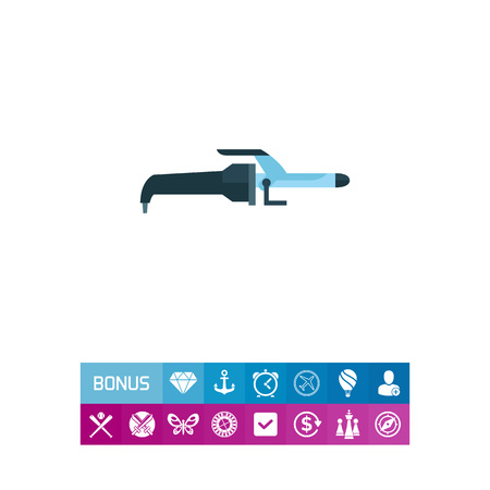 barbershop: Hair curling iron vector icon Illustration