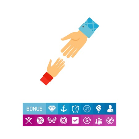 Icon of helping hand. Support, friendship, teamwork. Help concept. Can be used for topics like philanthropy, society, kindness