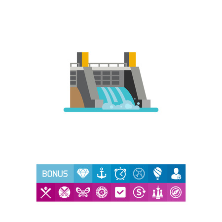 Icon of hydroelectric station. Dam, infrastructure, resource. Water energy concept. Can be used for topics like ecology, industry, power