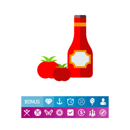 Icon of ketchup in bottle and tomatoes. Traditional condiment, table sauce, vegetable. Sauce concept. Can be used for topics like ingredient, fast food or dressing Illustration