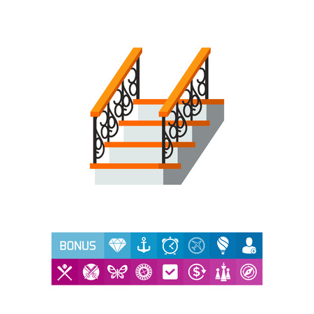 Vector icon of ladder with forged fence banister. House, staircase, exit. Iron works concept. Can be used for topics like forging, architecture, metalwork