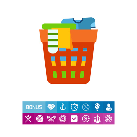 unwashed: Icon of laundry basket. Garment, fashion, cleaning. Laundry concept.