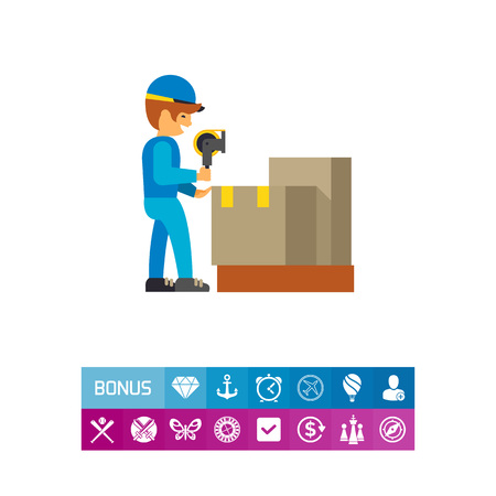 Man working in packing distribution center Illustration
