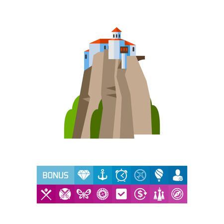 in monastery: Meteora Monasteries on hill icon