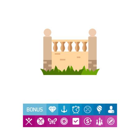 Brick fence with balustrade icon