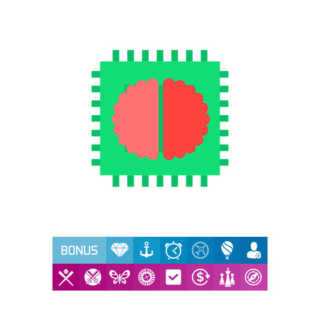 Artificial intelligence chip vector icon Illustration