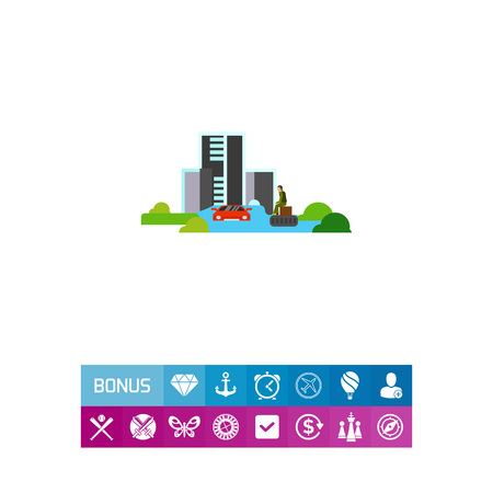 Vector icon of flooded town. Catastrophe, disaster, misfortune. Natural disaster concept. Can be used for topics like natural phenomenon, insurance business, social security Illustration